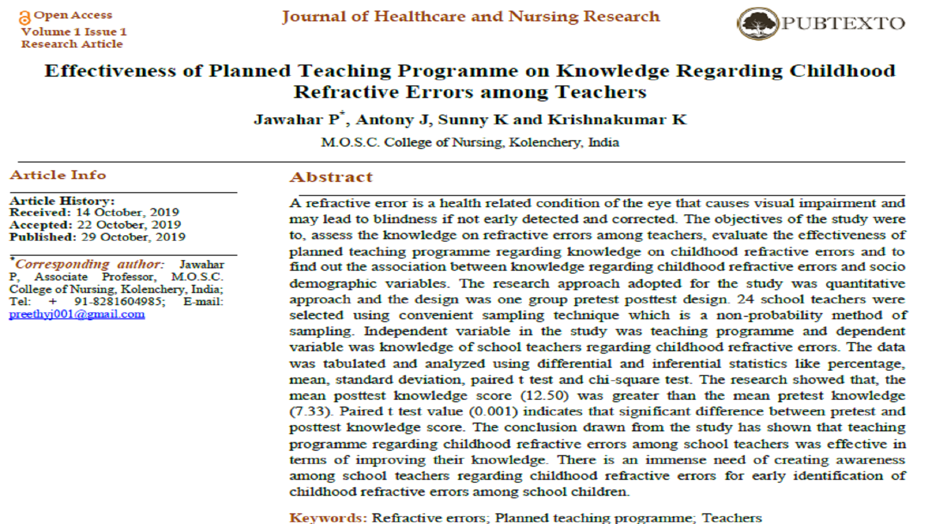 Effectiveness of Planned Teaching Programme on Knowledge Regarding Childhood Refractive Errors among Teachers
