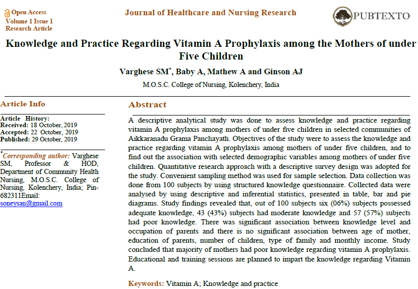 Knowledge and Practice Regarding Vitamin A Prophylaxis among the Mothers of under Five Children