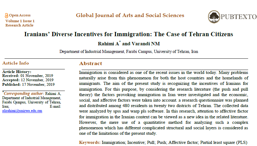 Iranians' Diverse Incentives for Immigration: The Case of Tehran Citizens
