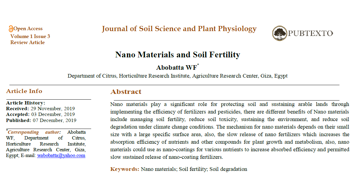 Nano Materials and Soil Fertility
