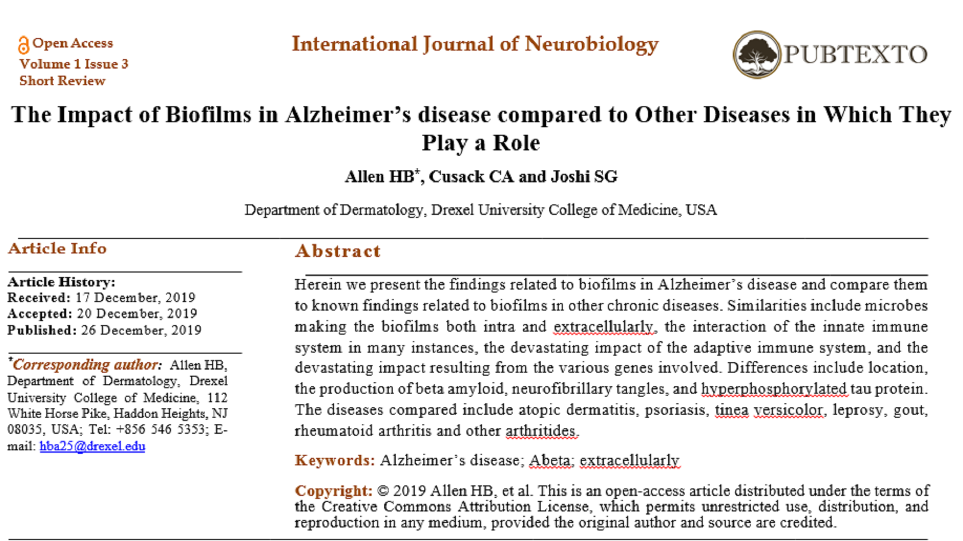 The Impact of Biofilms in Alzheimer's disease compared to Other Diseases in Which They Play a Role