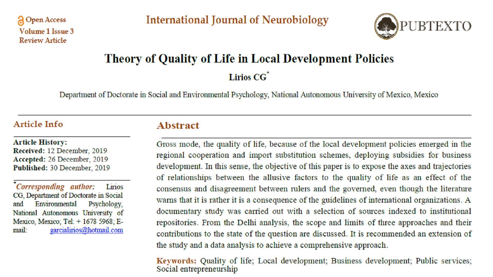 Theory of Quality of Life in Local Development Policies