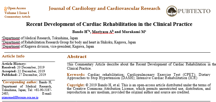 Recent Development of Cardiac Rehabilitation in the Clinical Practice