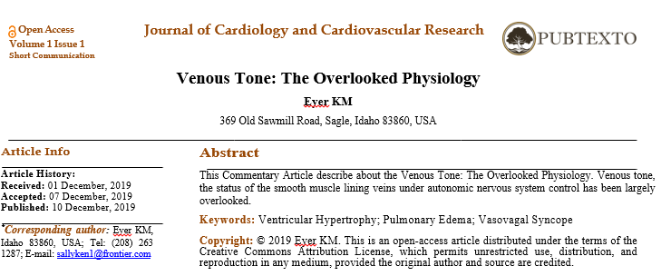 Venous Tone: The Overlooked Physiology