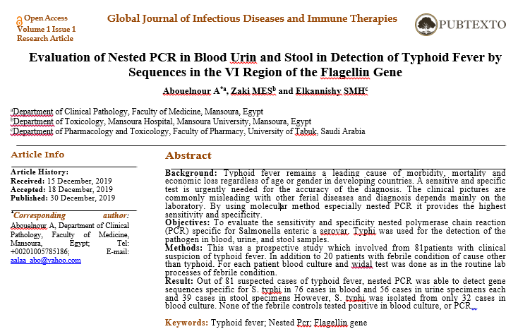 Evaluation of Nested PCR in Blood Urin and Stool in Detection of Typhoid Fever by Sequences in the VI Region of the Flagellin Gene