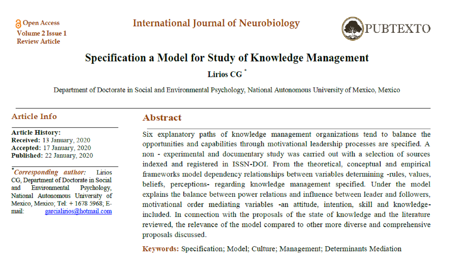 Specification a Model for Study of Knowledge Management