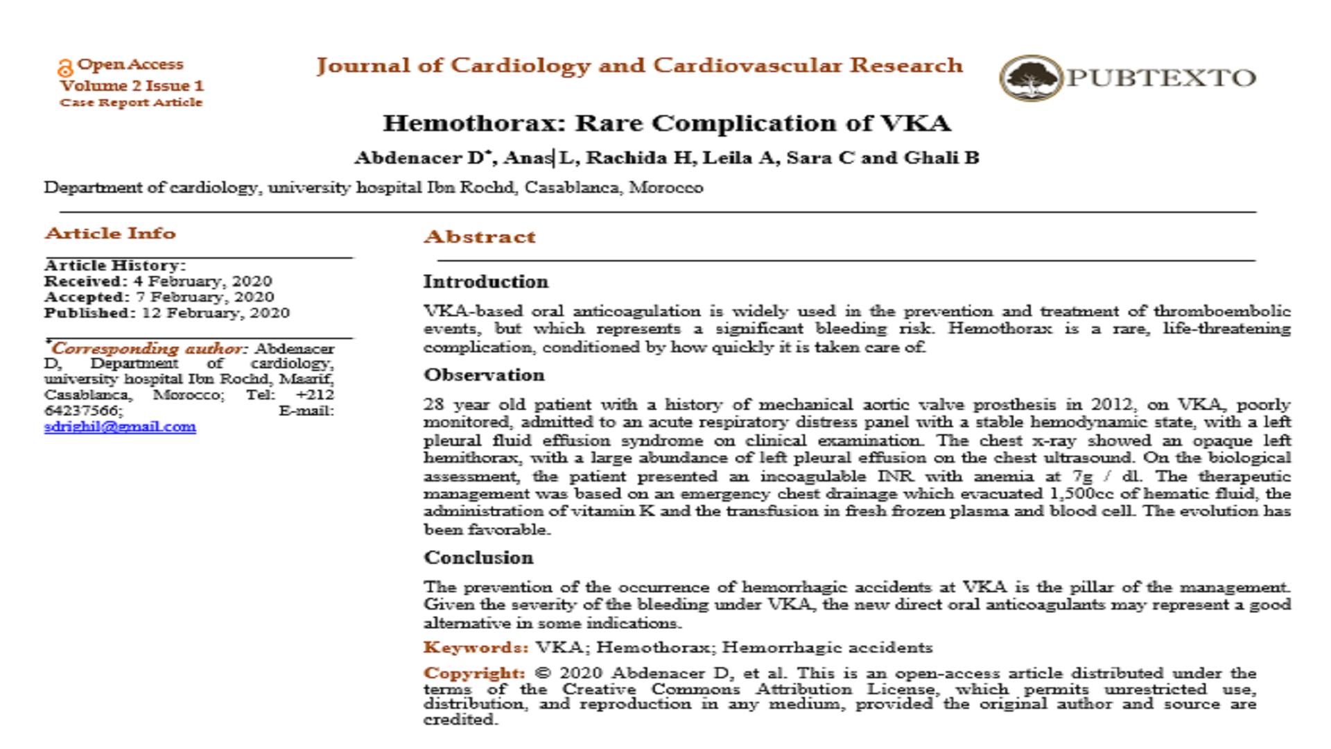 Hemothorax: Rare Complication of VKA