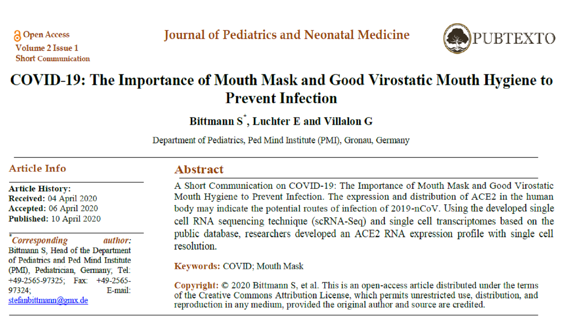COVID-19: The Importance of Mouth Mask and Good Virostatic Mouth Hygiene to Prevent Infection