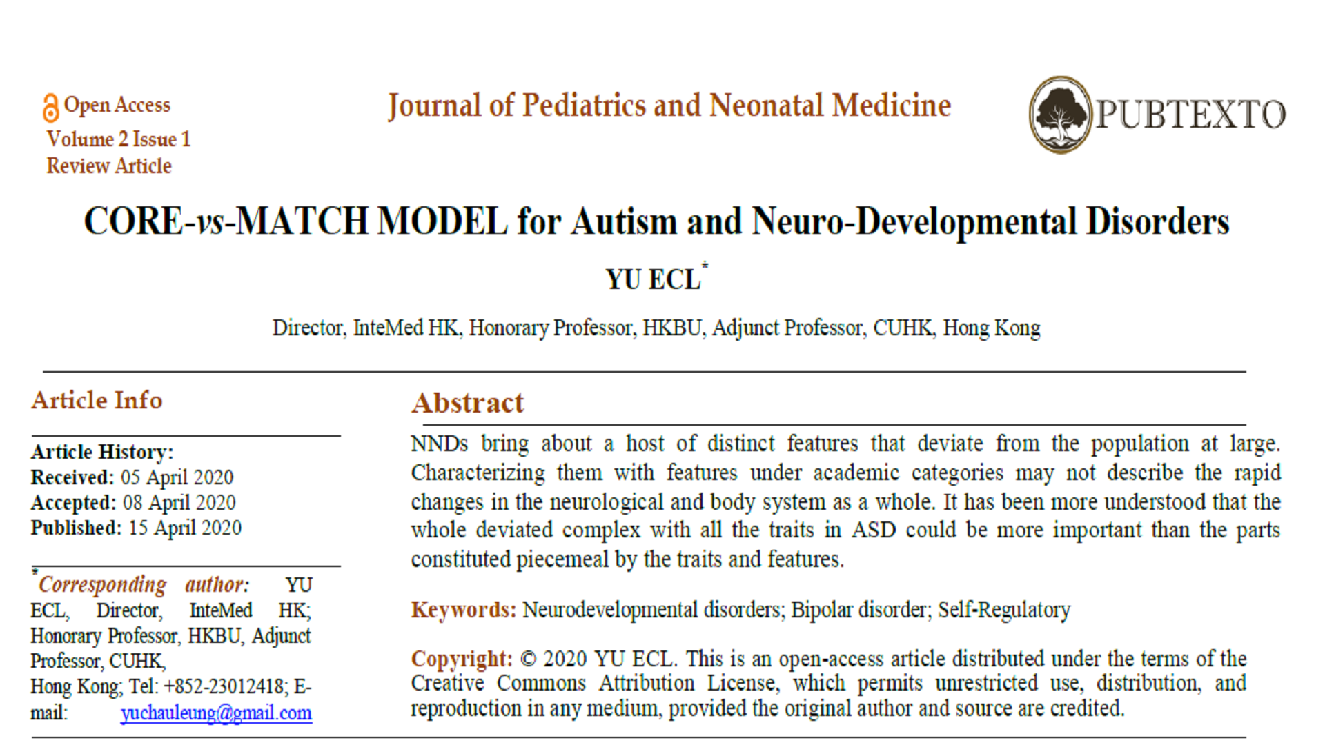 CORE-vs-MATCH MODEL for Autism and Neuro-Developmental Disorders