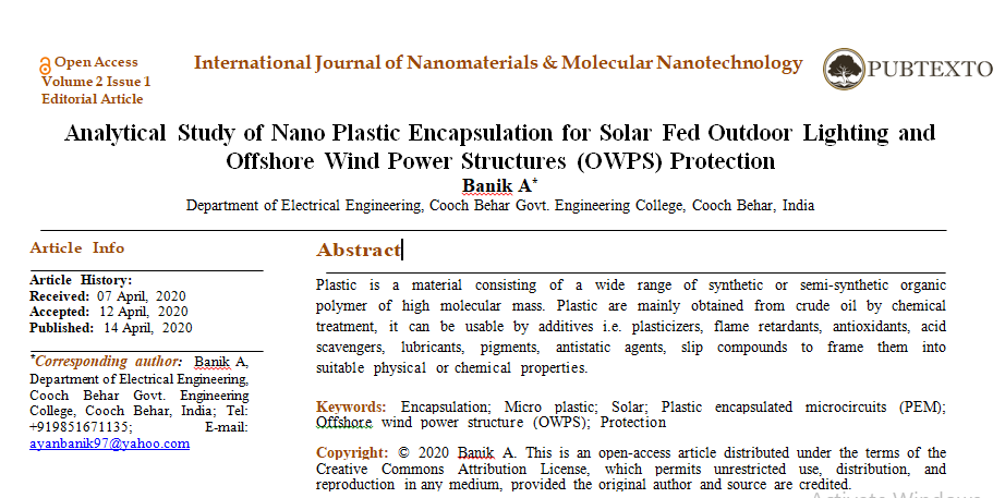 Analytical Study of Nano Plastic Encapsulation for Solar Fed Outdoor Lighting and Offshore Wind Power Structures (OWPS) Protection