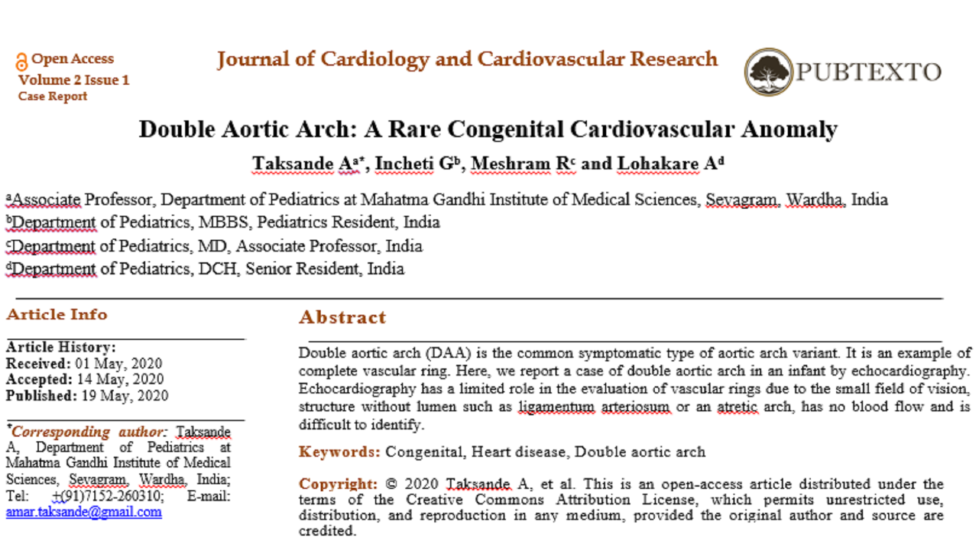 Double Aortic Arch: A Rare Congenital Cardiovascular Anomaly