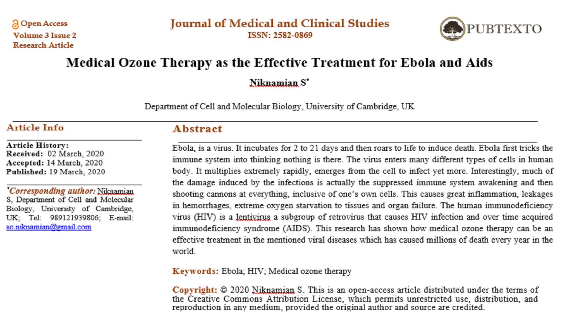 Medical Ozone Therapy as the Effective Treatment for Ebola and Aids