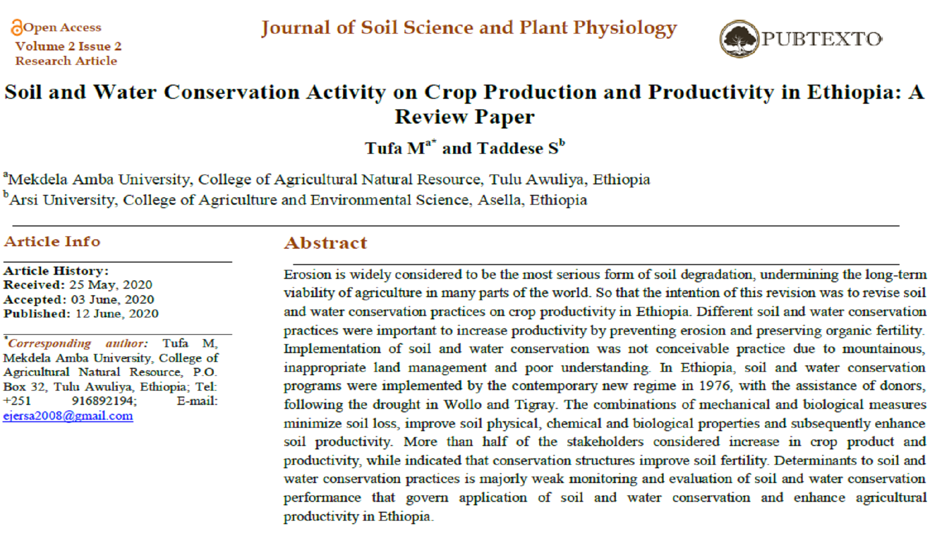 Soil and Water Conservation Activity on Crop Production and Productivity in Ethiopia: A Review Paper