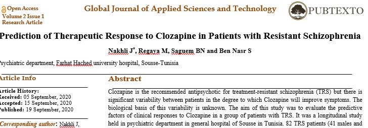 Prediction of Therapeutic Response to Clozapine in Patients with Resistant Schizophrenia