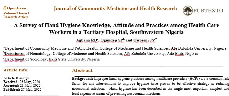 A Survey of Hand Hygiene Knowledge, Attitude and Practices among Health Care Workers in a Tertiary Hospital, Southwestern Nigeria