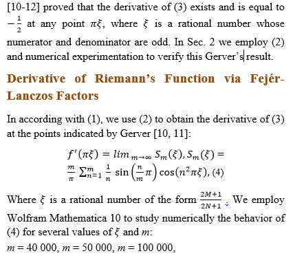 Fejér-Lanczos Factors and Riemann Function