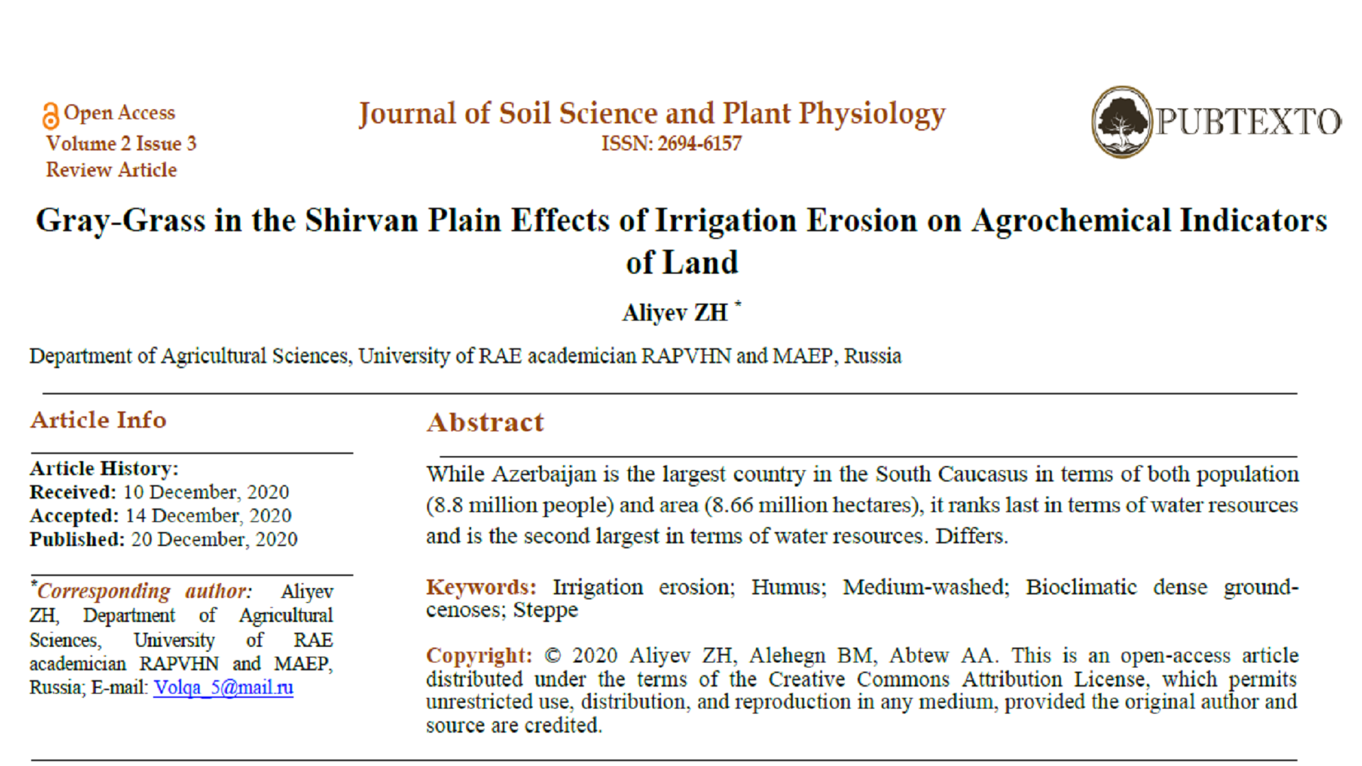 Gray-Grass in the Shirvan Plain Effects of Irrigation Erosion on Agrochemical Indicators of Land