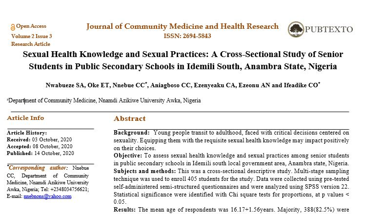 Sexual Health Knowledge and Sexual Practices: A Cross-Sectional Study of Senior Students in Public Secondary Schools in Idemili South, Anambra State, Nigeria