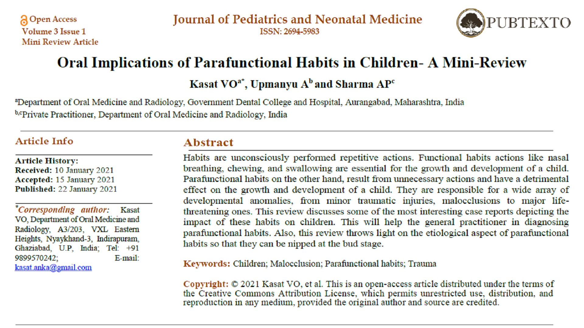 Oral Implications of Parafunctional Habits in Children- A Mini-Review