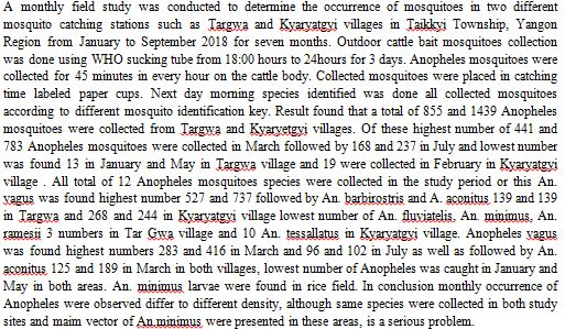 Occurrence of Anopheles Mosquitoes in Two Different Catching Stations in Taikky Township Yangon Region in Myanmar