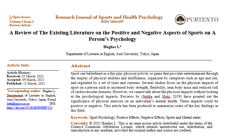 A Review of The Existing Literature on the Positive and Negative Aspects of Sports on A Person's Psychology