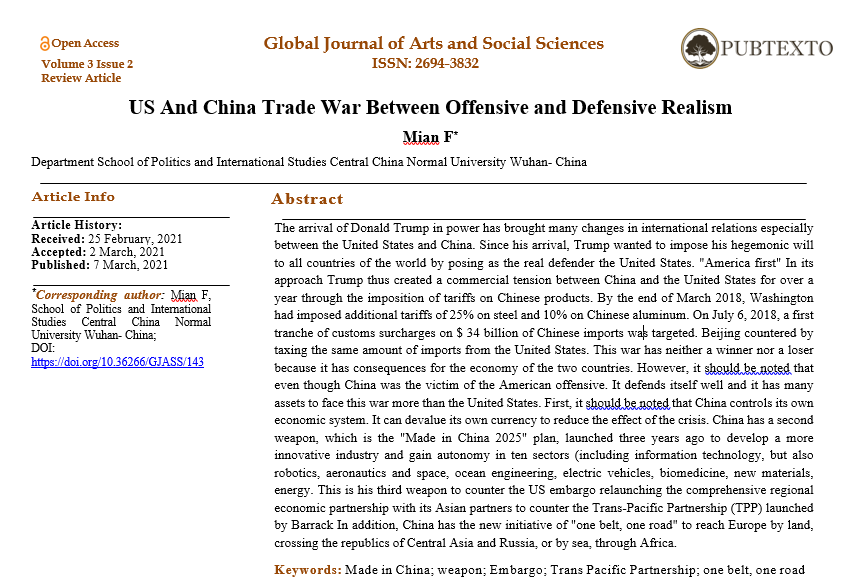 US And China Trade War Between Offensive and Defensive Realism