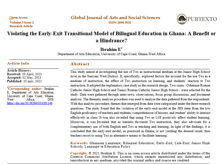 Violating the Early-Exit Transitional Model of Bilingual Education in Ghana: A Benefit or a Hindrance?