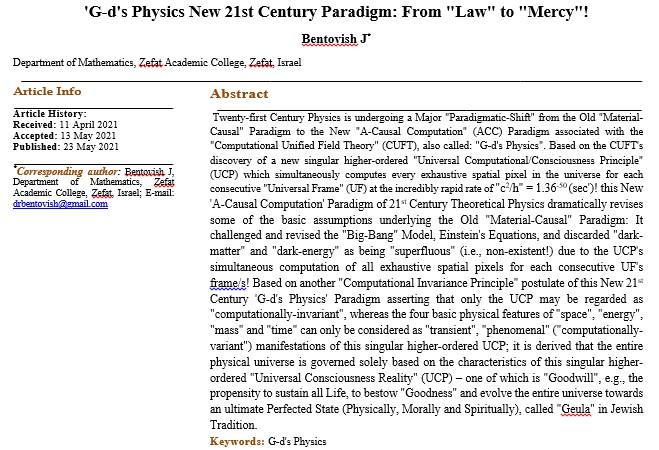 'G-d's Physics New 21st Century Paradigm: From
