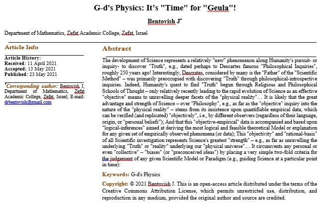 G-d's Physics: It's