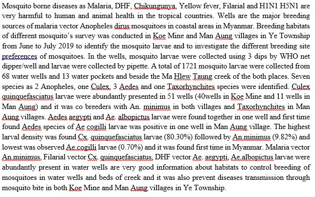 First Time Report of the Breeding of Anopheles, Aedes and Culex Mosquitoes in Domestic Water Wells in Ye Township Mon State, Myanmar