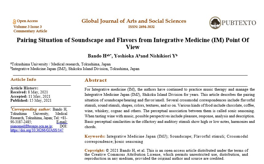 Pairing Situation of Soundscape and Flavors from Integrative Medicine (IM) Point Of View